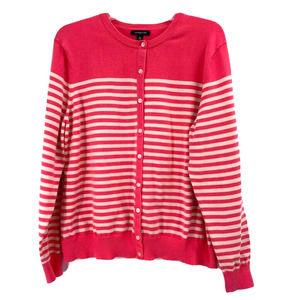Lands End Pink Stripe Supima Cotton Cardigan XL